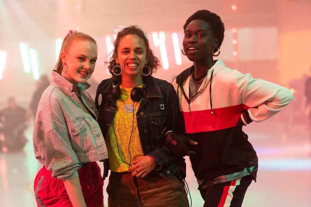 Amie Batalibasi with actors Monique Heath (L) & Celine Ajobong (R) on the set of Matchbox Pictures' Mustangs FC Season 3 for ABC TV