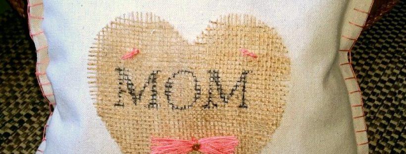 amigas4all mother day pillow burlap painters drop cloth heart monogram