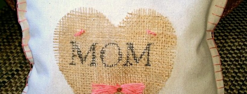 amigas4all mother day pillow burlap painters drop cloth heart monogram