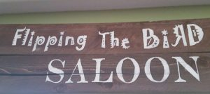 amigas4all flipping the bird saloon final product wood sign