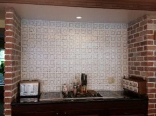faux cement tile backsplash final product image