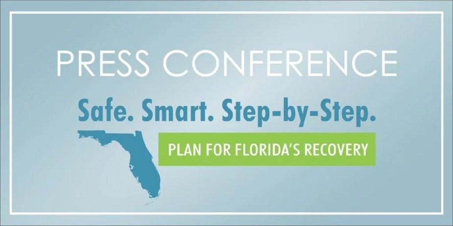 Coletiva de imprensa para definir o que muda na Flórida a partir do dia 04 de maio.