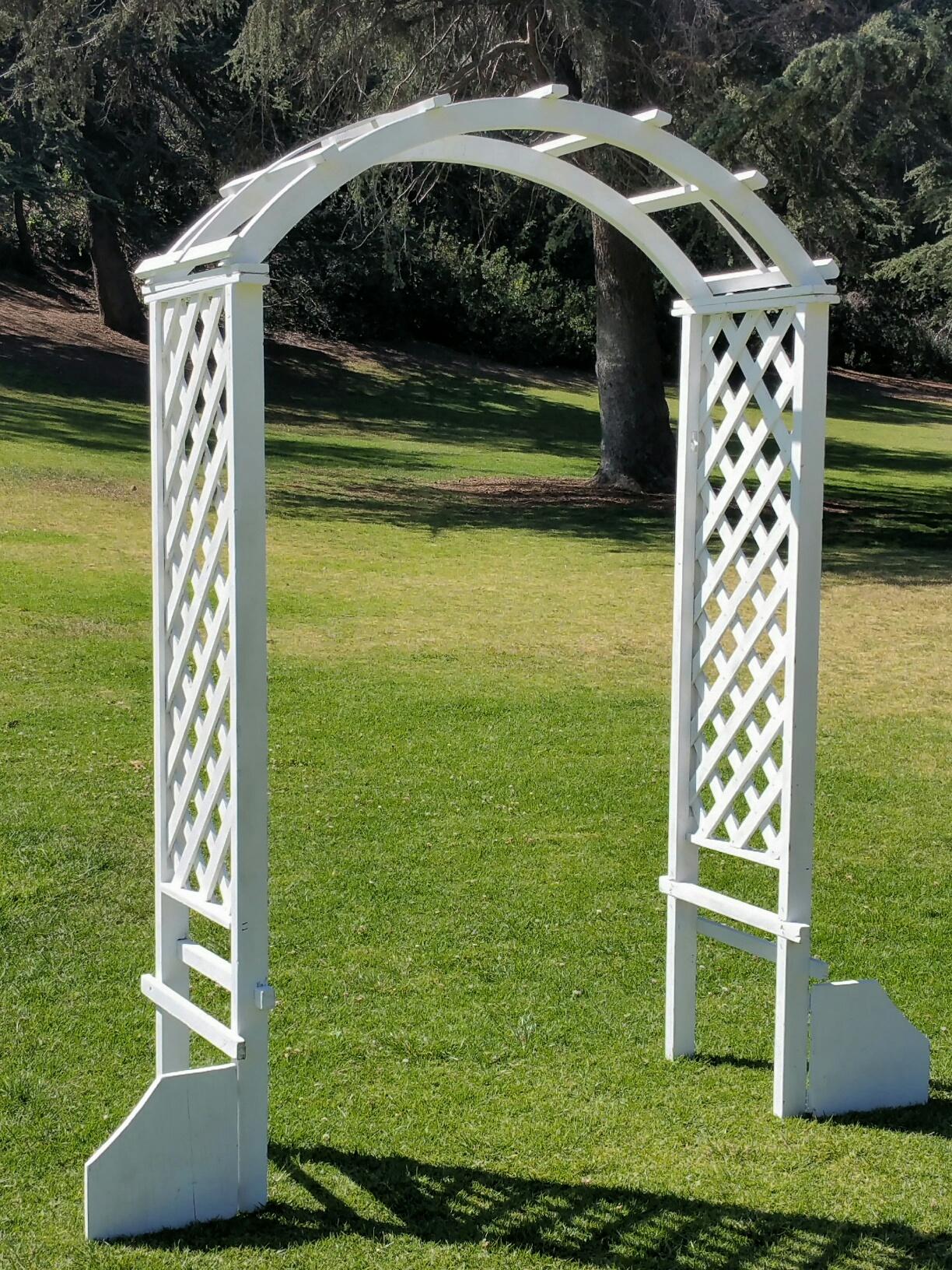 White Wood Garden Arch 60 W X 92 H Amigo Party Rentals Inc