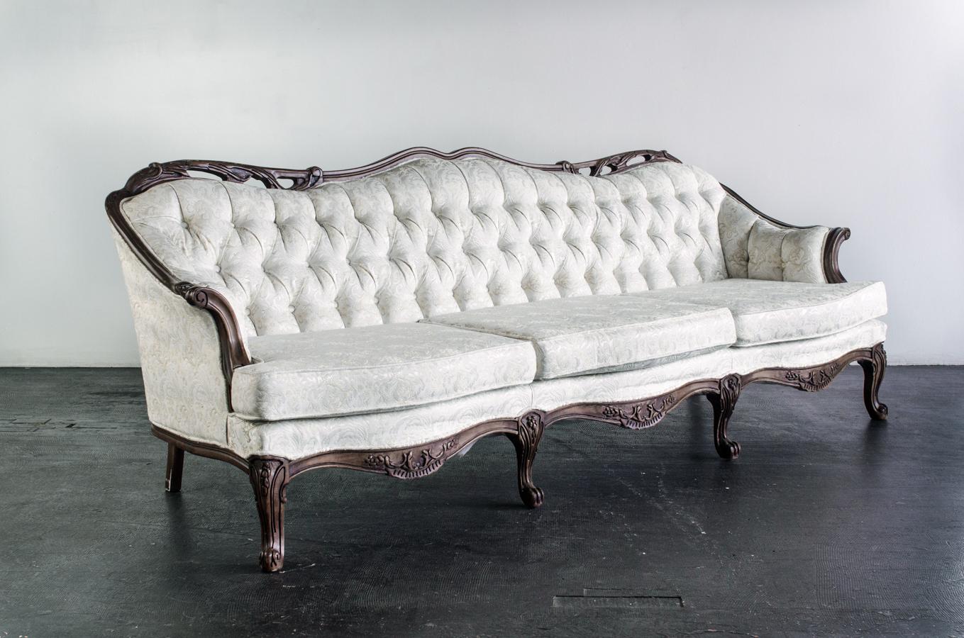 Vintage Sofa French Provincial Ivory  Amigo Party Rentals