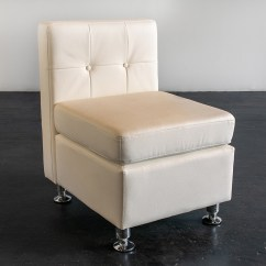 White Tufted Chair Modern Leather Desk Arm Less Back Amigo Party Rentals Inc Armless