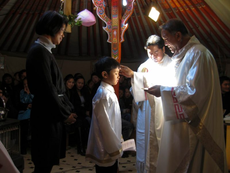 Bishop Wenceslao Padilla confirms a boy at Good Shepherd Catholic Parish in Ulan Bator, Mongolia, in 2008. In 1992 there were no Catholics in Central Asian country. Under Bishop Padilla, the Catholic population has grown to 900. (CNS file photo) (Oct. 25, 2013) See PADILLA-MONGOLIA Oct. 25, 2013.