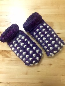 Knitted Merino slippers thrummed with BFL