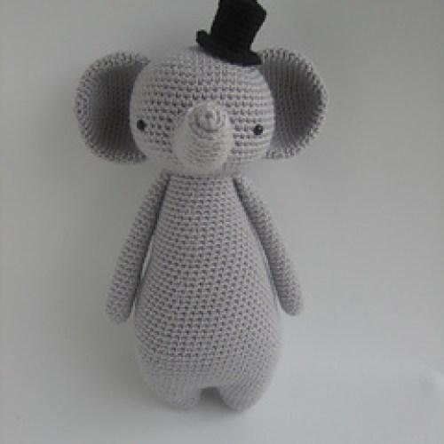 Crocheted grey elephant toy