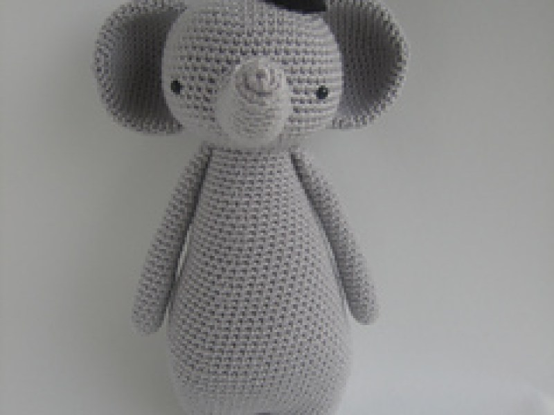 Crocheted grey elephant toy