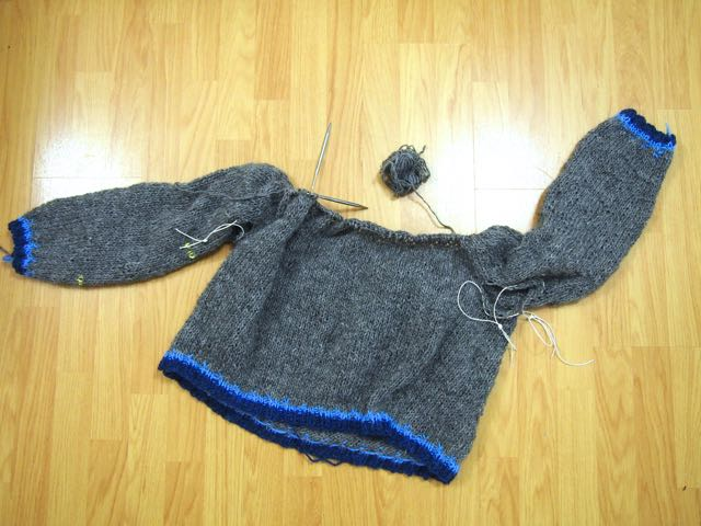 A connected lopapeysa bottom up sweater.