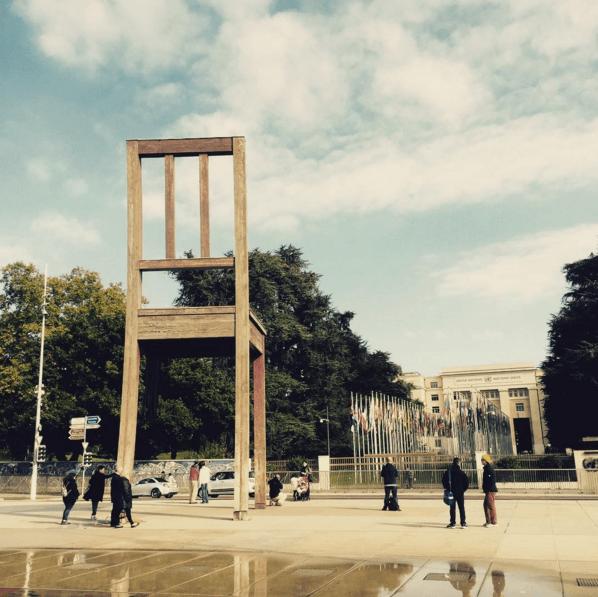 Outside the UN in Geneva.