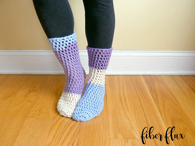 Free crochet slipper socks pattern
