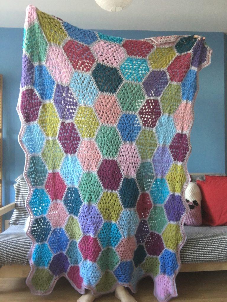 Colourful Granny hexagon crochet blanket