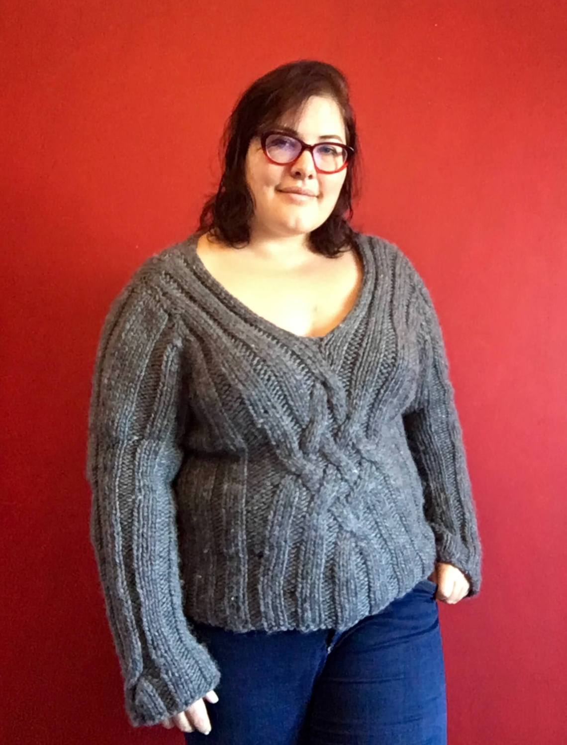 Handmade grey chunky cable knit sweater