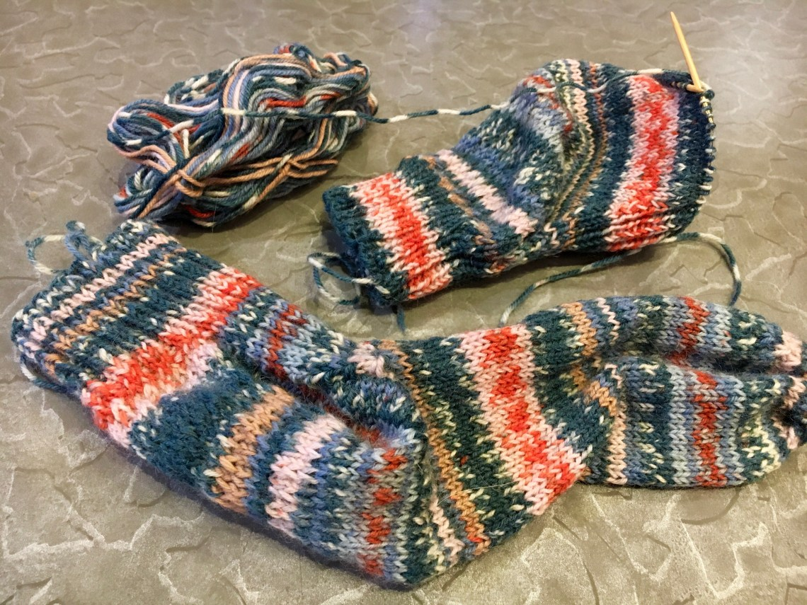 Cuffdown Handknit socks in self patterning yarn
