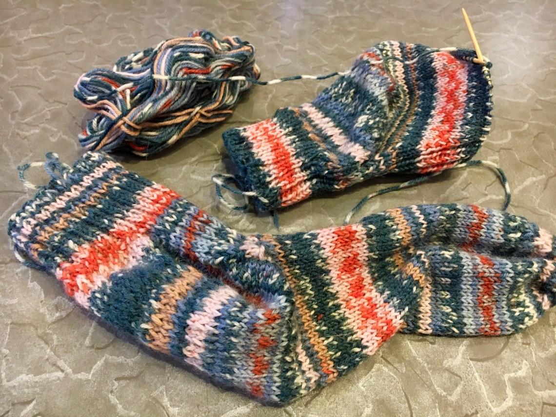 Cuffdown Handknit socks in self patterning yarn