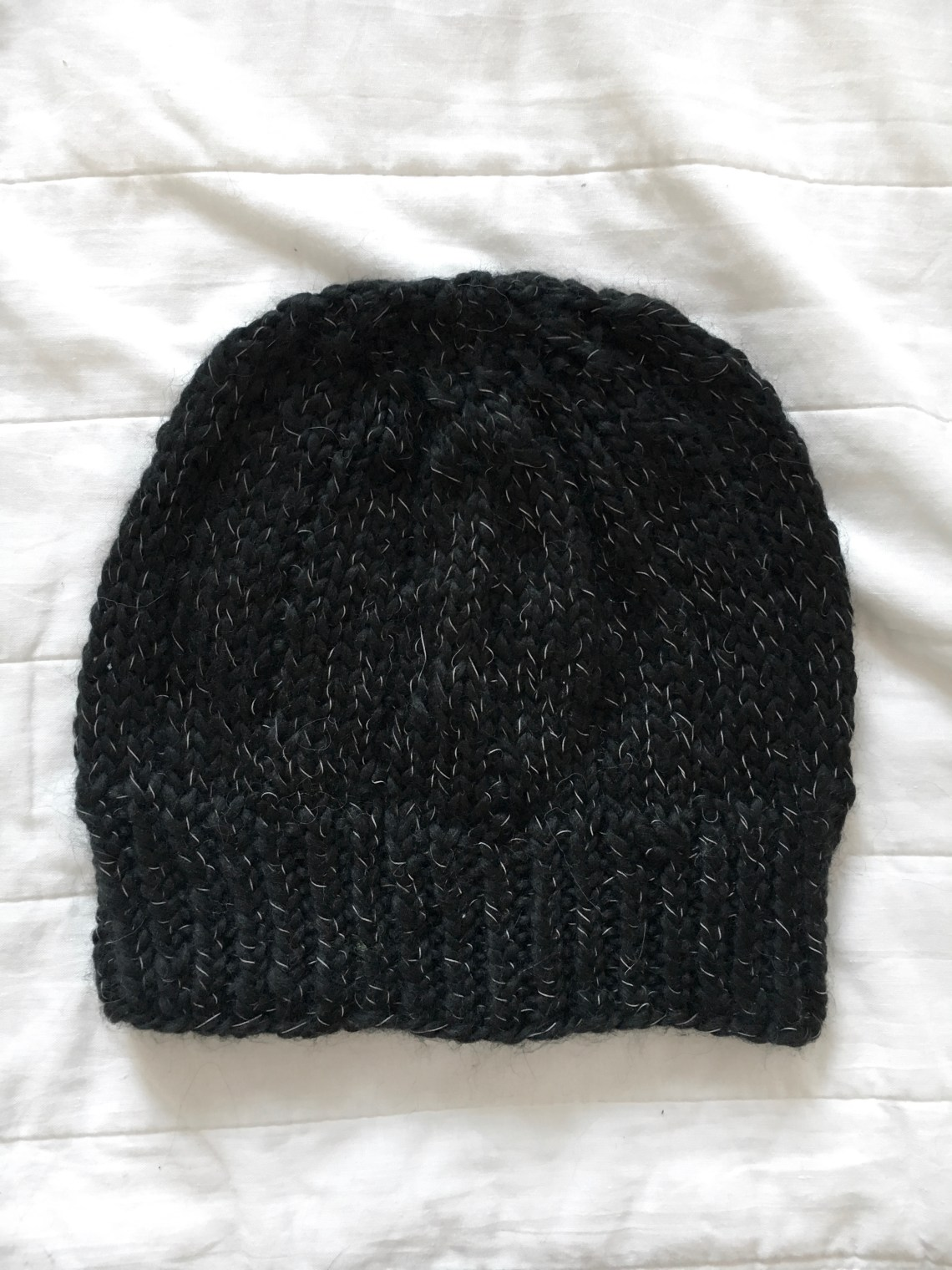 A simple hat in nice yarn, plain Christmas knitting.