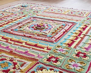 An elaborate and textured granny square blanket