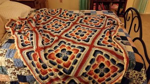 A classic larksfoot granny square