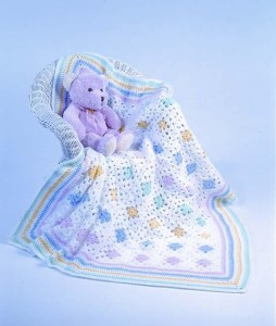 Traditional granny square baby blanket
