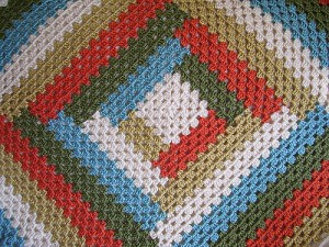 log cabin granny square blanket