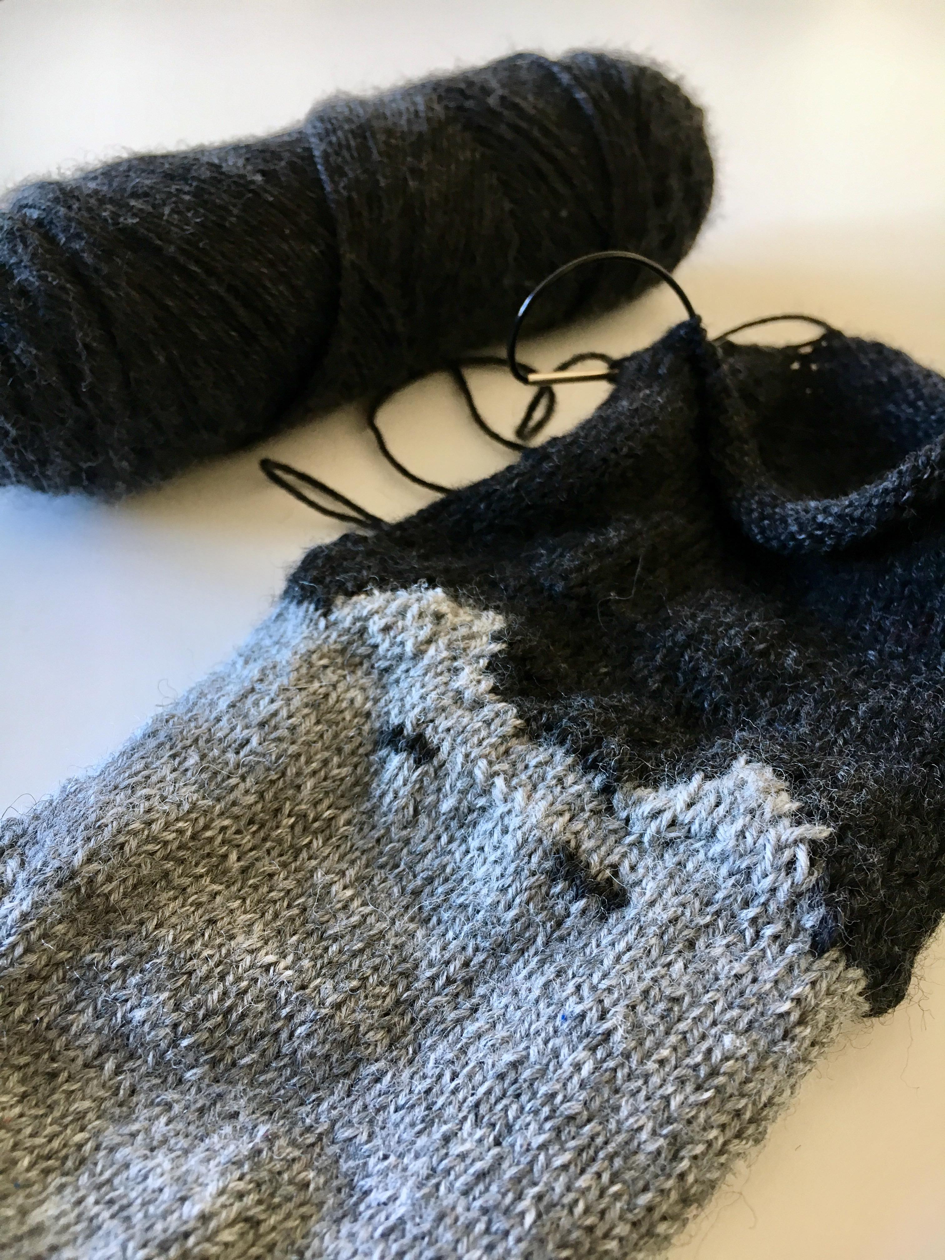 Kind of loose ears on my knitted cat socks