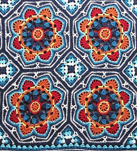 Persian tile crocheted blanket