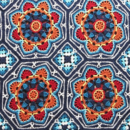 Persian tile crocheted blanket