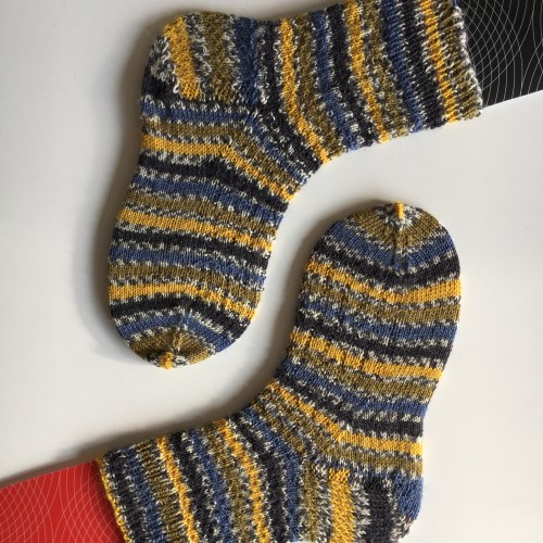 handknit socks on homemade sock blockers