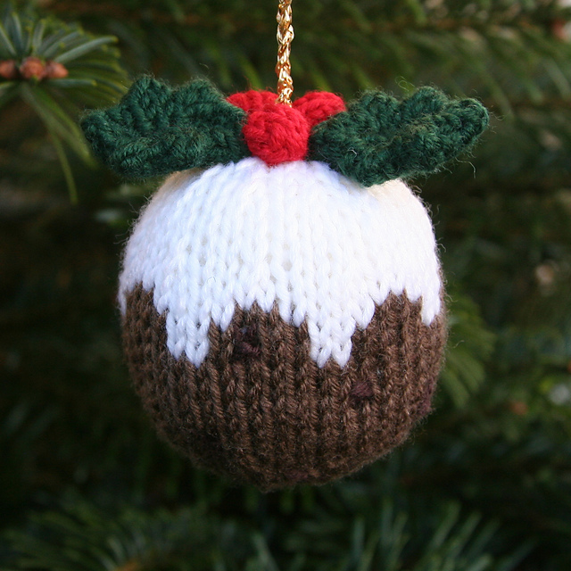 knitted christmas pudding ornament