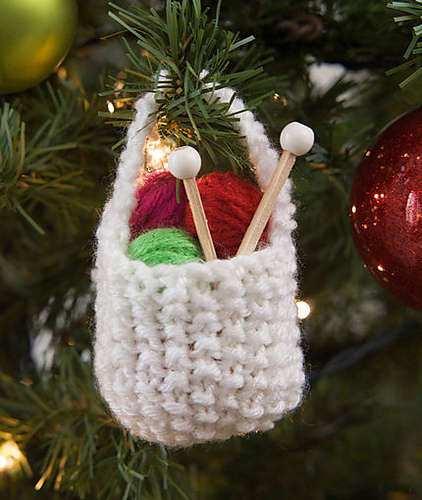 knitting basket Christmas ornament