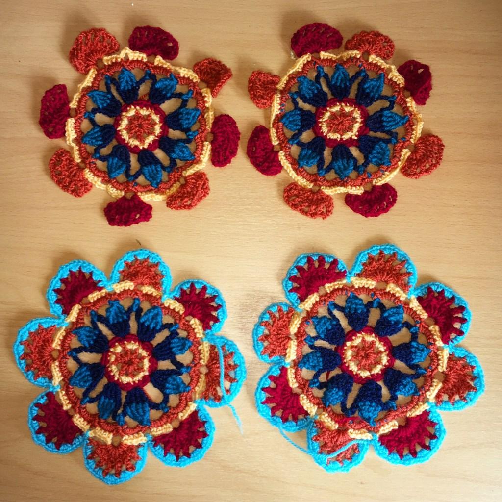 Four Persian tiles crochet motifs in progress