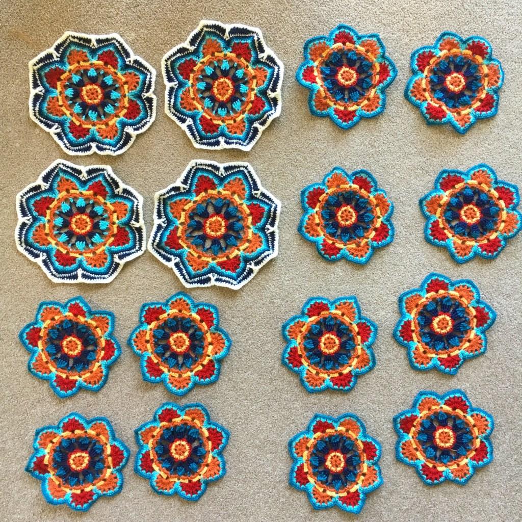 12 Persian Tiles blanket motifs in progress