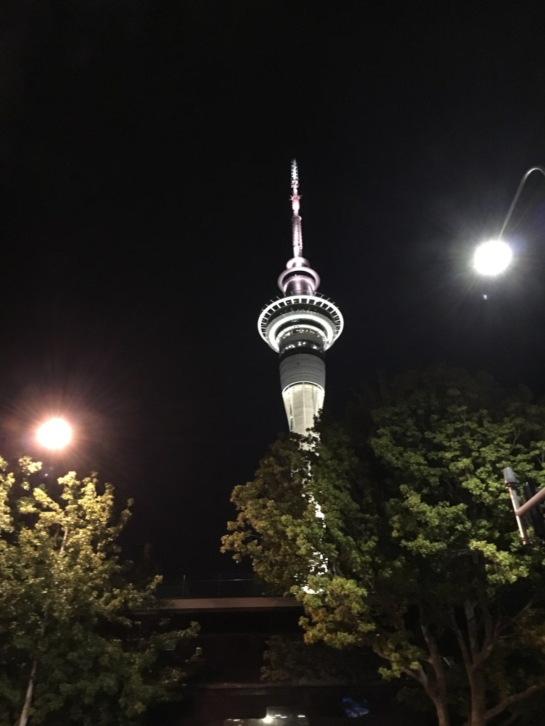 The sky tower in Auckland, New Zealand, at night