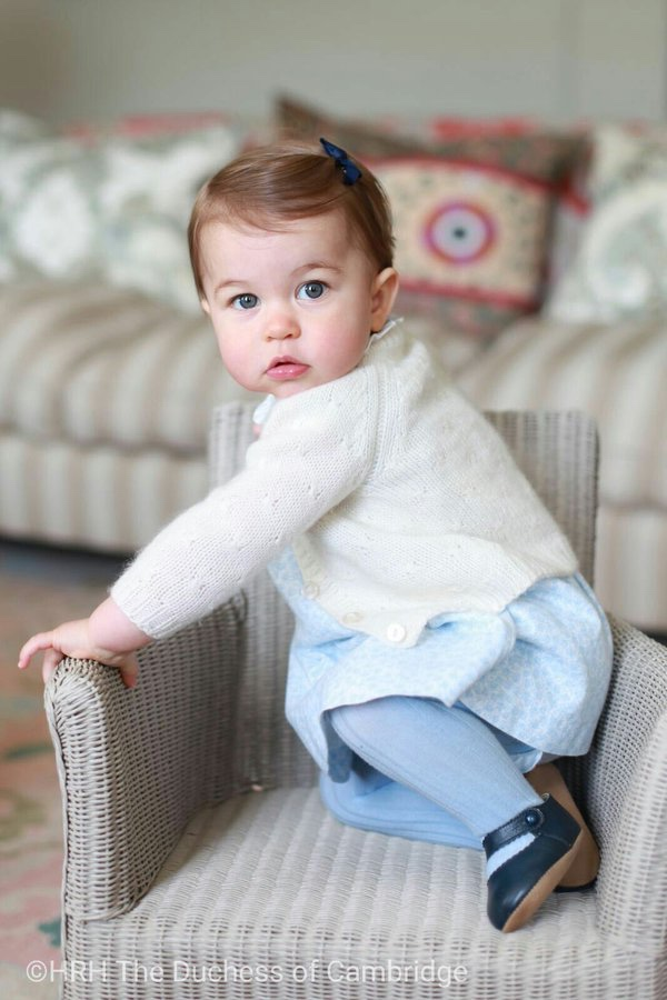 Princess Charlotte in a white cardigan