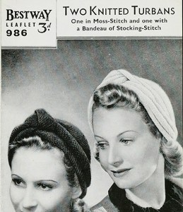 Original 1940s knitted turban pattern