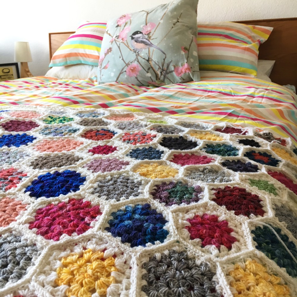 Granny Hexagon Crochet Blanket in progress