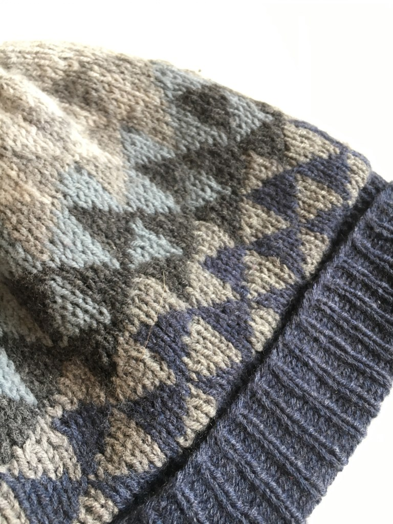 Detail of a colourwork winter beanie