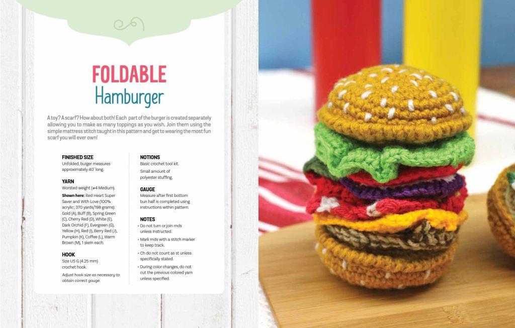 Foldable hamburger crochet pattern