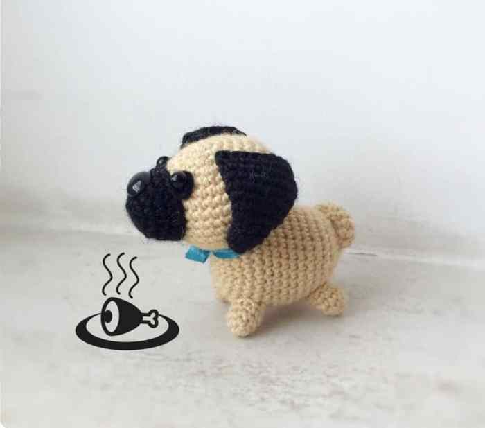 Little crochet pug dog - free amigurumi pattern