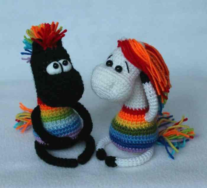 Rainbow horse amigurumi pattern crochet tutorial