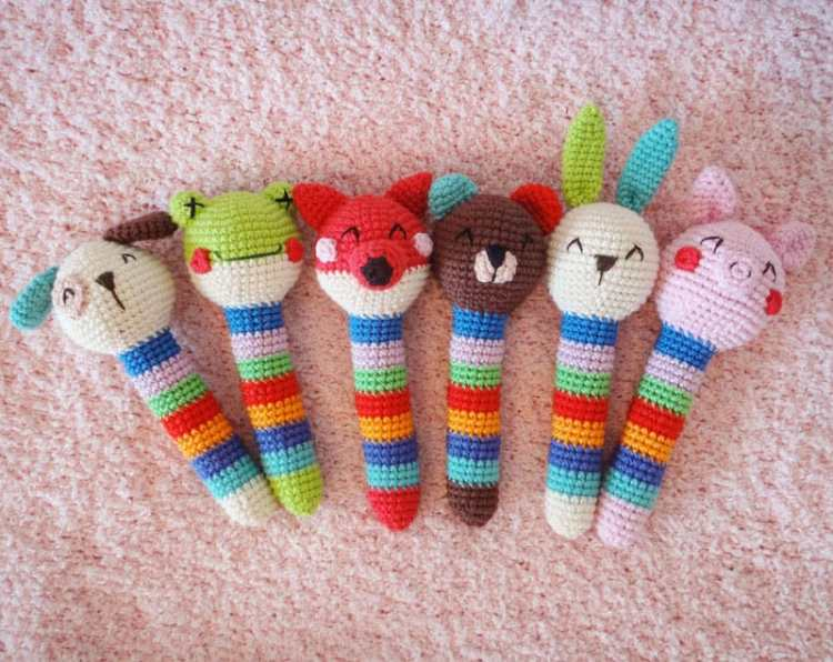 Crochet animal baby rattles free pattern