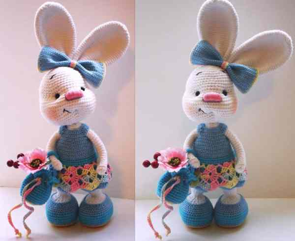 Pretty bunny amigurumi in dress - free crochet pattern