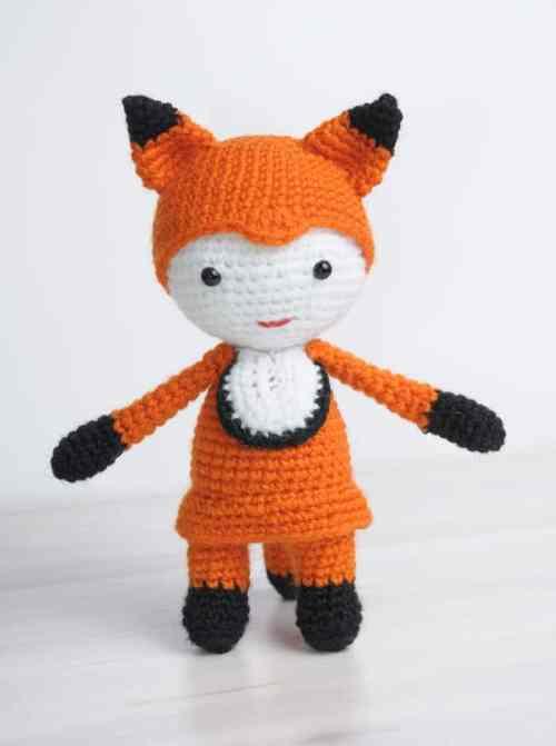 Amigurumi doll in fox costume - free pattern