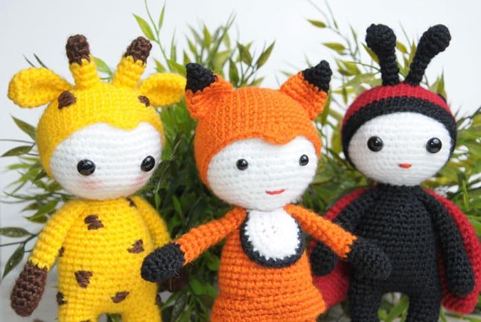 Amigurumi dolls in animal costumes - free crochet patterns