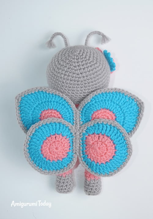Amigurumi doll in butterfly costume crochet pattern