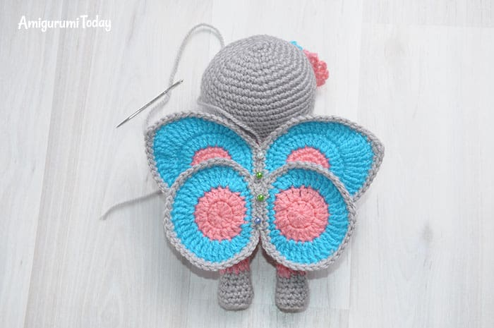 Crochet doll in butterfly dress - free pattern