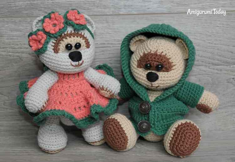 Honey teddy bears in love: crochet pattern - Amigurumi Today