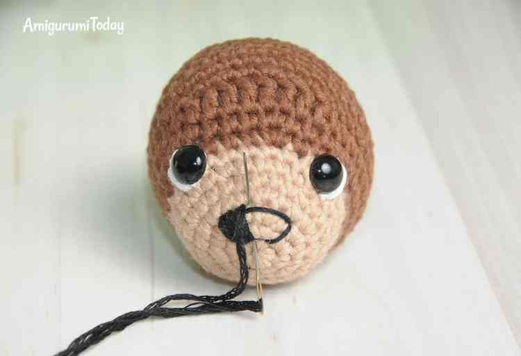 Timmy Dog Amigurumi Pattern - embroidering nose