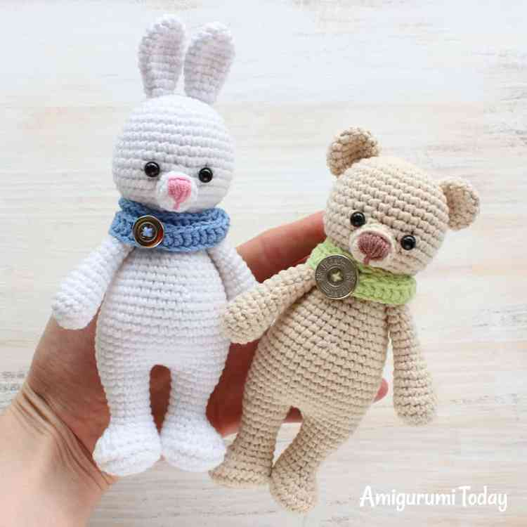 Cuddle Me Bear with Bunny - Free patterns by Amigurumi Today